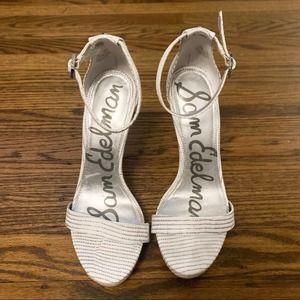 Sam Edelman Eleanor White Snakeskin Heels 5.5